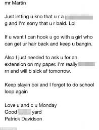 email teacher student patrick davidson writes drunk email to bald teacher gets
