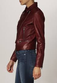 hugo boss levke leather jackets dark pink hugo boss red label jeans