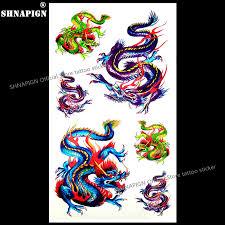 Shnapign Barevné čínský Drak Dočasné Tetování Na Tělo Umění Rameno