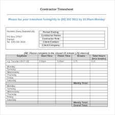 18 Contractor Timesheet Templates Docs Word Pages