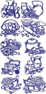 kitchen embroidery designs. one-color kitchen set embroidery designs d