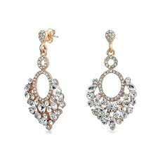 bling jewelry rose gold plated alloy teardrop crystal chandelier earrings shaped