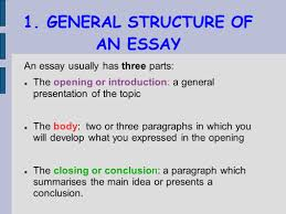 writing an essay general structure of an essay the opening  the opening introduction some ideas 3 1