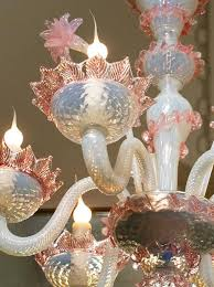 handblown classic pink and white murano glass chandelier from italy circa 1940 newly rewired