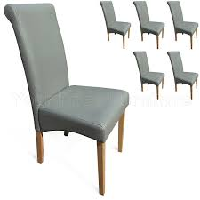 faux leather dining chairs ebay. set of 6 matt grey faux leather scroll top roma dining chairs with padded seat \u0026 oak finish legs: amazon.co.uk: kitchen home ebay o