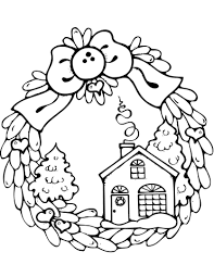 Small Picture Christmas Wreath with Gingerbread House coloring page Free