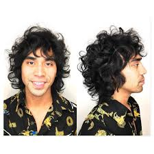 Mens Wild Bohemian Curly Shag With Messy Texture And Jet Black