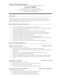 Financial Planner Resume Objective Examples Luxury Financial