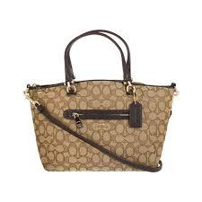 Coach Signature Jacquard Prairie Satchel Shoulder Handbag Khaki brown