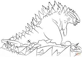 Godzilla Rises from the Sea coloring page | Free Printable ...