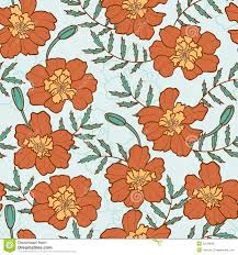 Marigold Floral Design Seamless Texture With Marigold Flowers Stock Vector