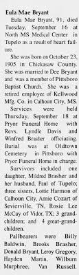 Obituary for Eula Mae Bryant (Aged 91) - Newspapers.com