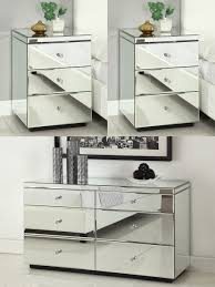 Mirrored Furniture Rio Crystal Mirrored Bedside Tables Chest Package Mirror Furniture