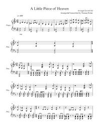 heaven piano sheet music a little piece of heaven sheet music for piano musescore