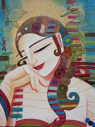 this indian artist s paintings usually consists of dynamic colors geometric textures and bold strokes she loves to use acrylic colors in her fantastical
