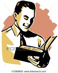 a vine drawing of a man reading a book