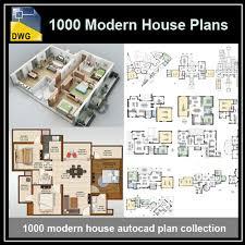 1000 modern house autocad plan