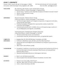 Entry Level Chemist Resume