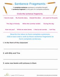 Work On Writing Sentence Fragments Worksheet Education Com