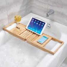 interdesign formbu bathtub caddy with reading tray wine natural tablet phone holder