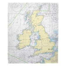 British Isles Nautical Chart Blanket