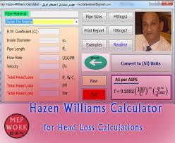 Hazen Williams Formula Pipe Flow Chart Hazen Williams Calculator For Head Loss Calculations