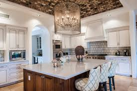 transitional white kitchen with stunning vaulted ceiling