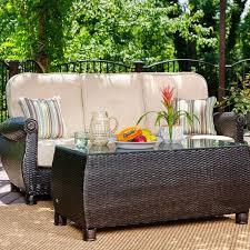 coffee table set w natural tan cushion