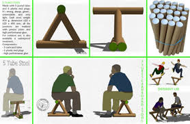 cardboard tube furniture. 5 Tubes Stool Cardboard Tube Furniture