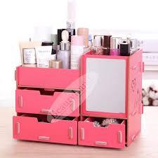 free gift beautyland diy 3 drawers with mirror wooden makeup cosmetic organizer desktop storage