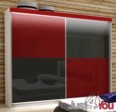 Bedroom Furniture Mediolan M LED With Fronts In High Gloss - Red gloss bedroom furniture