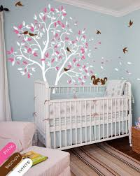 white tree wall decal pink leaves squirrel nursery wall decal kids wall decal white wall decal