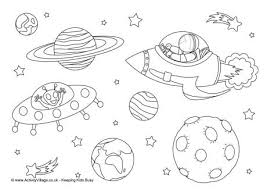 Small Picture Space Colouring Page