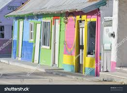 Traditional colorful wooden mexican houses with tin roof, Holbox Island,  Mexico