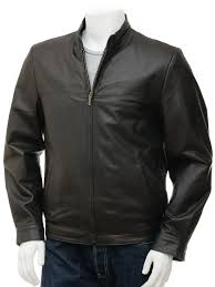 men s black leather jacket rovno front