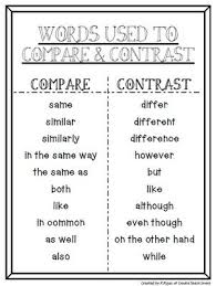 T Chart Listing Signal Words To Compare Contrast