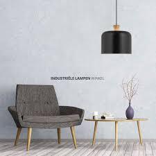 Zwarte Scandinavische Hanglamp Basket Met Hout 581501