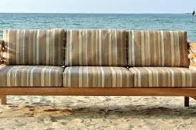 malibu teak outdoor sofa with sunbrella
