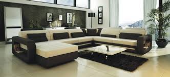 Ultra Modern Cream and Black Leather Sectional Sofa CP 2200