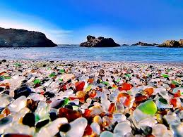 the elements did their job transforming the glass remnants into shiny colorful pebbles the same way as in russia s glass beach