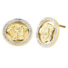 Mens Designer Earrings 10k Yellow Gold Mens Diamond 3d Medusa Face Designer Studs 13mm Earrings 0 20 Ct