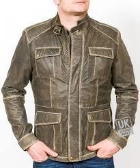 mens vintage racing leather jacket harlequin distressed olive green front