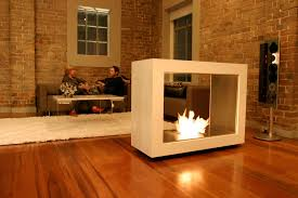 freestanding fireplace in the living room