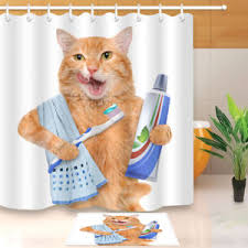 funny shower curtain. Image Is Loading Brushing-teeth-cat-Funny-Shower-Curtain-Bath-Accessories- Funny Shower Curtain