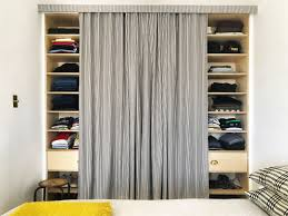 Cool amazing diy closet door curtains ideas Room Decor Pby Hanging The Curtain Just Few Inches Away From The Shelves Behind It David Maxed Architectural Digest Ditch Your Closet Doors For Tailored Curtain Architectural Digest