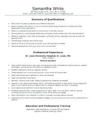 Example Of Medical Assistant Resume Resume Examples For Medical Assistant Emelcotest Com