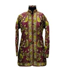 Purple Green Kashmiri Embroidered Aari Silk Jacket