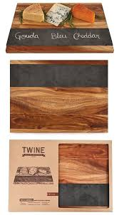 rustic farmhouse collection acacia wood cheese board with slate inlay personalized gifts and party favors