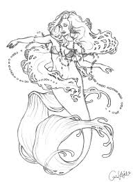 Mucha Coloring Pages Mucha Mermaid Sketch