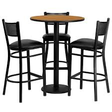 30 round natural laminate table set with 3 bar stools with black vinyl seats
